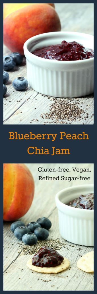Nutritionicity | Recipe: Blueberry Peach Chia Jam (GF, V / Plant-Based, Refined Sugar-Free) Fresh jam in 20 minutes - no pectin, no gelatin, no canning, no fuss. . . deliciously fresh and bursting with nutrients--not to mention the texture is perfect for the quintessential Peanut Butter and Jelly Sandwich! http://www.nutritionicity.com/recipes/recipe-blueberry-peach-chia-jam-gluten-free-veganplant-based-rsf/