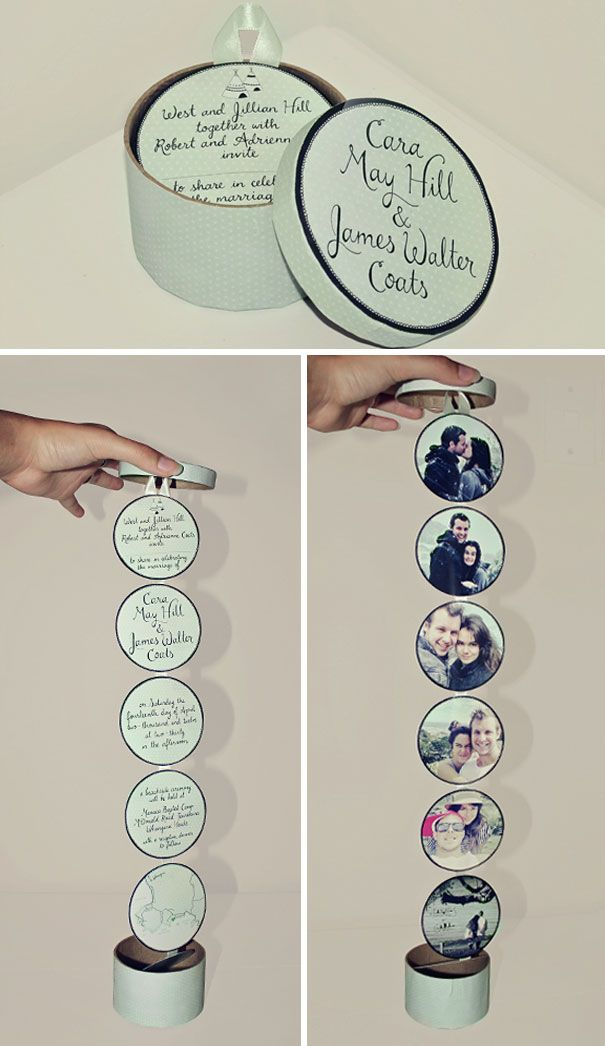 Wedding Invitations In Round Boxes
