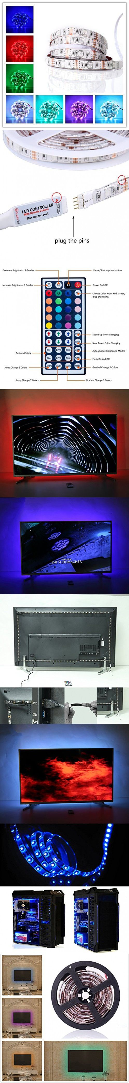 ALight House LED TV Backlight Kit 5050 USB RGB Multicolor Waterproof Backlight Strip Lighting with 44-key Remote Controller for 32~70in HDTV PC Monitor Home Theater Decoration