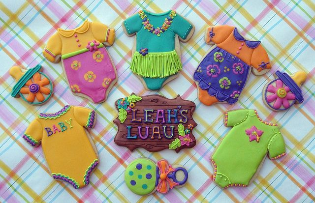 hawaiian baby shower...can decorate the onesies to go with any baby shower theme...too cute