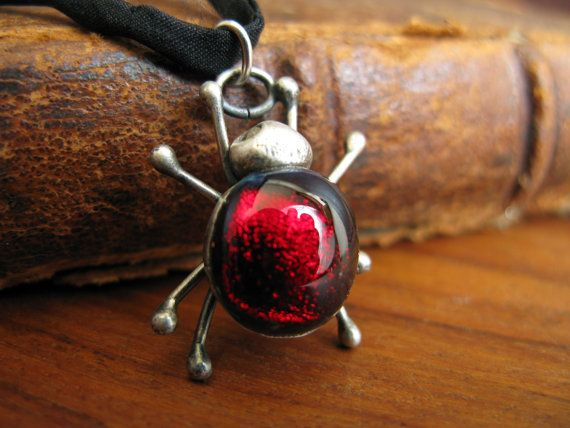 Handcrafted Unique Solid Silver and Dichroic Glass Bug Pendant - Red Spider on 100% Silk Cord - Fully UK Hallmarked on Etsy, $74.15
