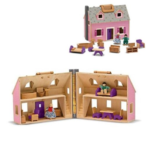 Value Priced, Appealing Wood Dollhouse/liu003e Includes Furniture And Dolls  Portable, Folding Dollhouse With Handles Ideal For Play Therapy