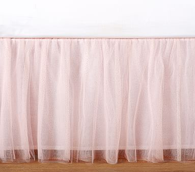 Sparkle Tulle Bedskirt, Queen, Pink