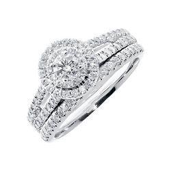 14k Oro Blanco De Las Mujeres Solitaire Mira Diamante Redondo Bridal anillo de compromiso conjunto TCI
