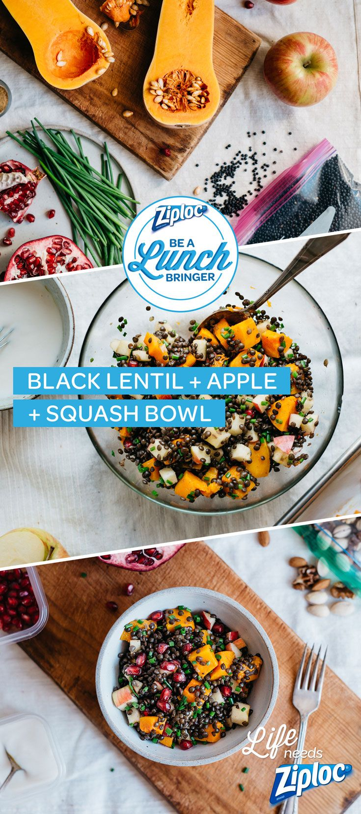 This gluten-free, vegan bowl is brimming with healthy ingredients. Chopped butternut squash, pomegranate seeds, apples, and black beluga lentils all get topped with a homemade tahini sauce. Mix some up, toss it in a Ziploc® container, and take it to work for lunch (you might want to bring extra to share).