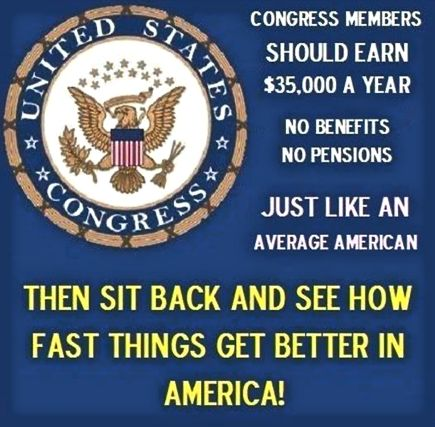 CONGRESS MEMBERS SHOULD EARN $35,000 A YEAR Posted on January 13, 2016