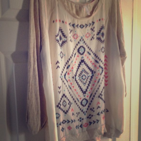 Soft Aztec Long Sleeve Top Super soft flowy material! Barley worn! Comes from a smoke free and pet friendly home! Tan blend color with coral light blue accents in a super cute pattern! Xhilaration Tops