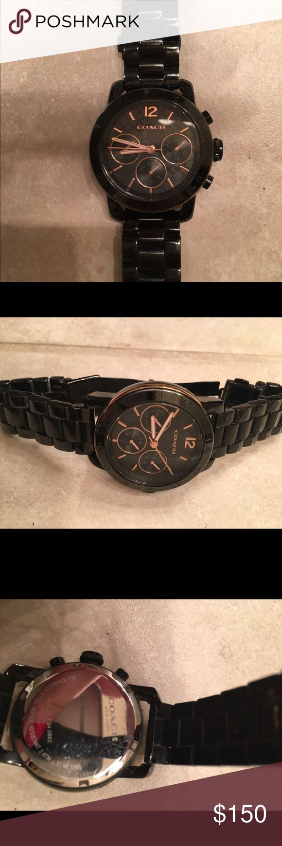 Coach watch Black and Rose gold Coach watch. Used condition. Has extra links and original box. coach Accessories Watches