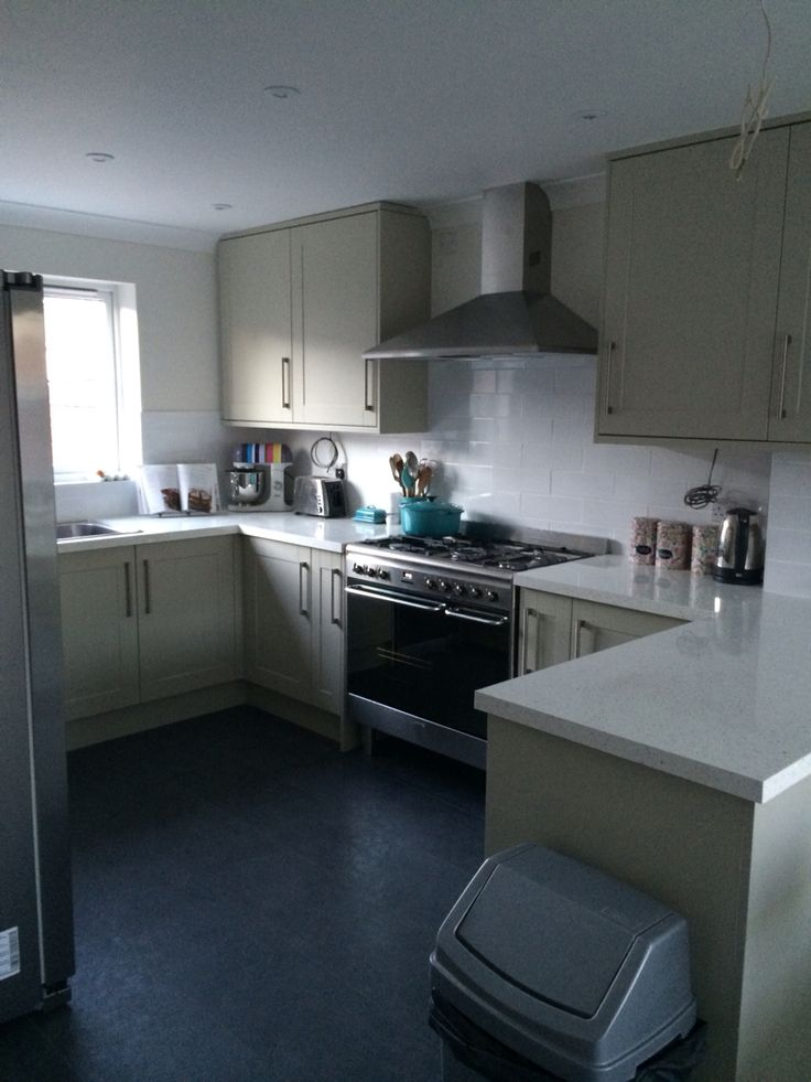 Howdens Kitchen Burford Grey Cupboard And Mirror Chip Worktop Tiles And Floor From Topps Tiles