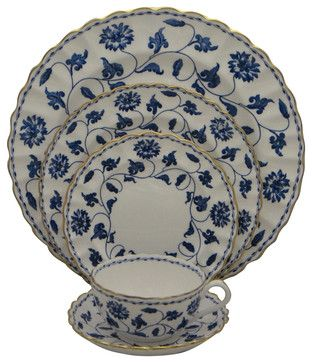 Spode Colonel-Blue (Gold) 5 Piece Place Setting traditional-dinnerware-sets