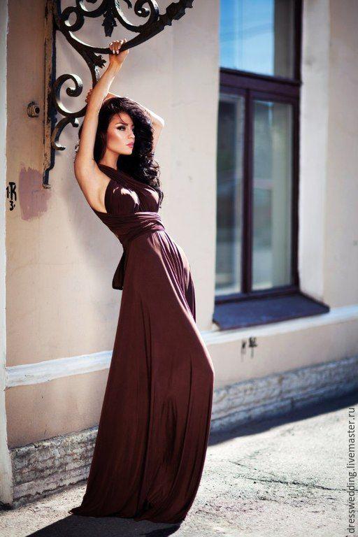Коричневое платье купить в москве
