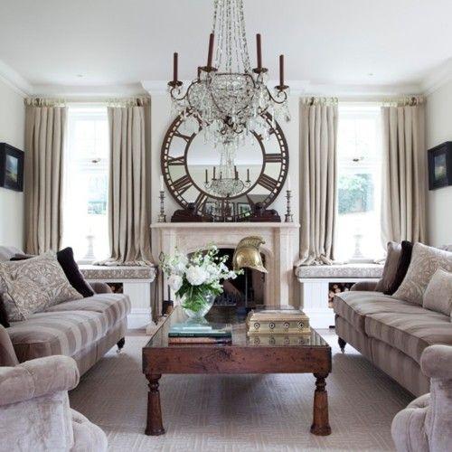 mirror: Vintage Clocks, Decor, White Houses, Chandelier, Livingroom, Sit Rooms, Living Rooms Ideas, Clocks Mirror, Window Seats