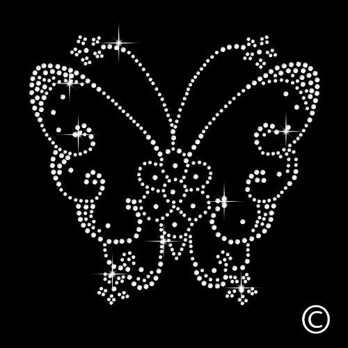 Butterfly rhinestone diamante motif t shirt transfer iron for Free t shirt transfer templates