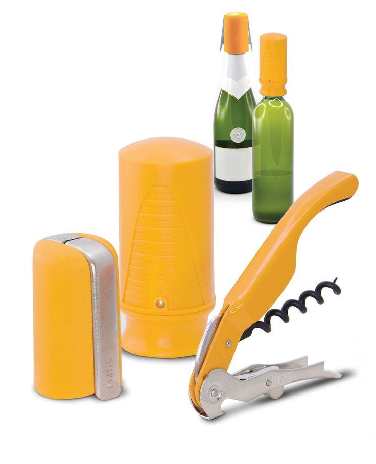 Zestaw akcesoriów do wina i szampana Wine&Champ - żółty - PULLTEX - DECO Salon #wine #wineaccessories #winelovers #giftidea #set