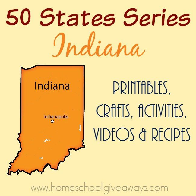 I am so excited about our next stop on the 50 States tour - Indiana. Find printables, recipes, activities and more to make the most of your study. :: www.homeschoolgiveaways.com