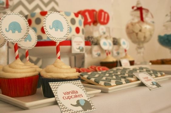 baby boy birthday party   elephant themed birthday party   chevron stripe design   grey, white, red and light blue colors