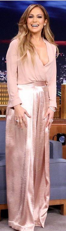 Jennifer Lopez's rose gold pin wide leg pants all pink fashion style