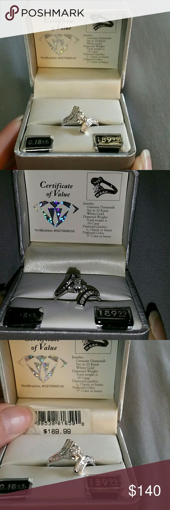 LOW PRICE FOR BLACK FRIDAY10 karat white Gold Ring SALE ONLY TODAY!!!!!! BLACK FRIDAY!!!!Beautiful Genuine diamonds set in 10 Karat White Gold.  See pics for additional info.  This ring was bought years ago brand new but never worn.  I believe its a size 7, that is my ring size and it fits my ring finger perfect. Jewelry Rings