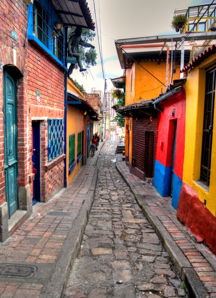The alleys of Bogotá's La Candelaria neighborhood are not unlike the hutongs in China; the notable difference is that Colombians prefer much more color!
