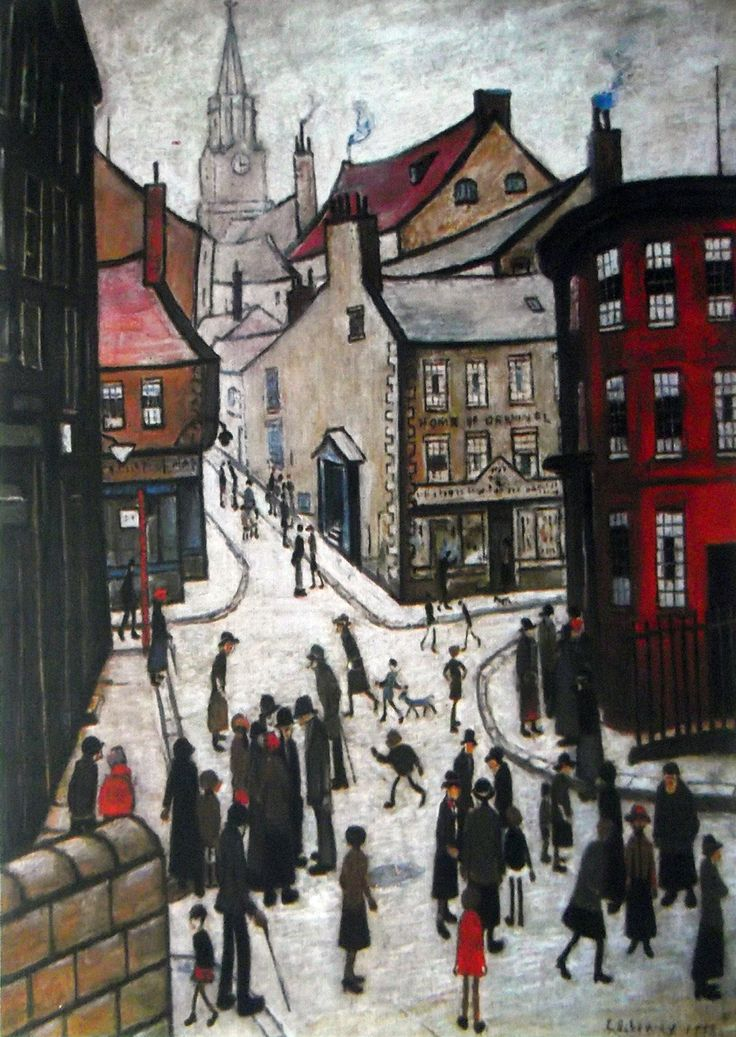 """Berwick Upon Tweed"" 1938..Oil by L S Lowry..Probably the best of several paintings inspired by his many visits to this northern most town in England. 
