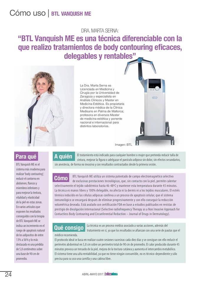 Artigo publicado em Espanha com o testemunho da Dr.ª Marta Serna, médica cirurgiã, e a sua experiência com o #BTLVanquishME.  #BTLAesthetics #lookdifferentfeeldifferent
