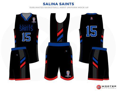 82871df2b4d SALINA SAINTS Black Red and White Basketball Uniforms
