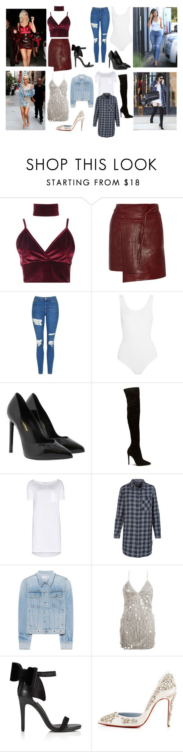 """4 Kylie Jnner Inspred outfits for every type of style"" by caroline-corradine on Polyvore featuring Kendall + Kylie, 7 For All Mankind, Boohoo, Isabel Marant, Topshop, Yummie by Heather Thomson, Yves Saint Laurent, T By Alexander Wang, rag & bone y WithChic"