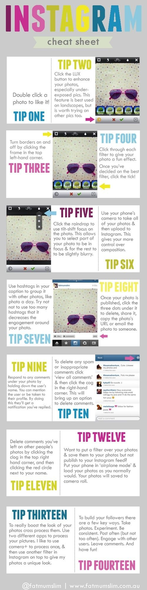 Instagram Cheat Sheet - it gives some good tips on how everything works and what to do to get started. http://mgrconsultinggroup.com