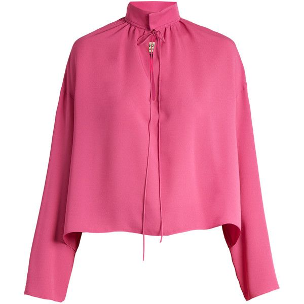 Balenciaga Long-sleeved silk blouse ($945) ❤ liked on Polyvore featuring tops, blouses, stand up collar blouse, silk top, pink silk blouse, tie blouse and slit tops