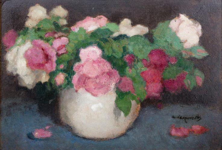 Alfons Karpiński: Róże olej, płyta, 35 × 50 cm sygn. p. d.: A.Karpiński