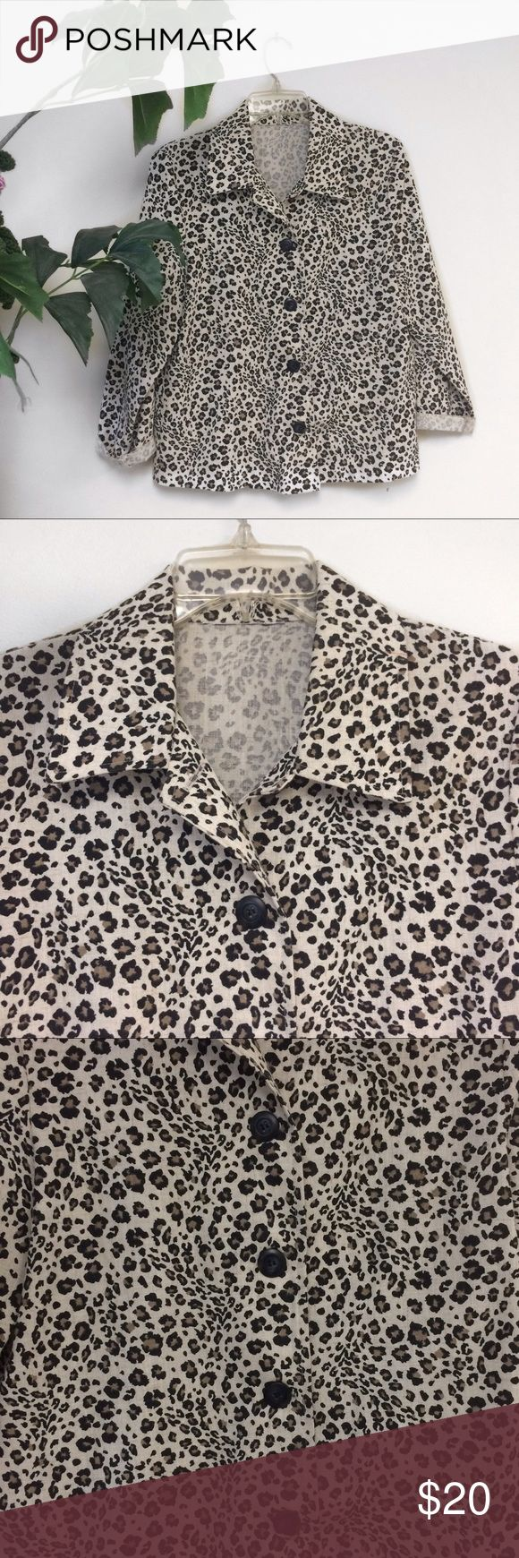 Vintage cheetah print shirt Vintage cheetah print blazer/shirt. It's a blazer but the material is very breathable like a shirt. It doesn't have a tag but it fits like a medium. (I'm a size small) Tops Button Down Shirts