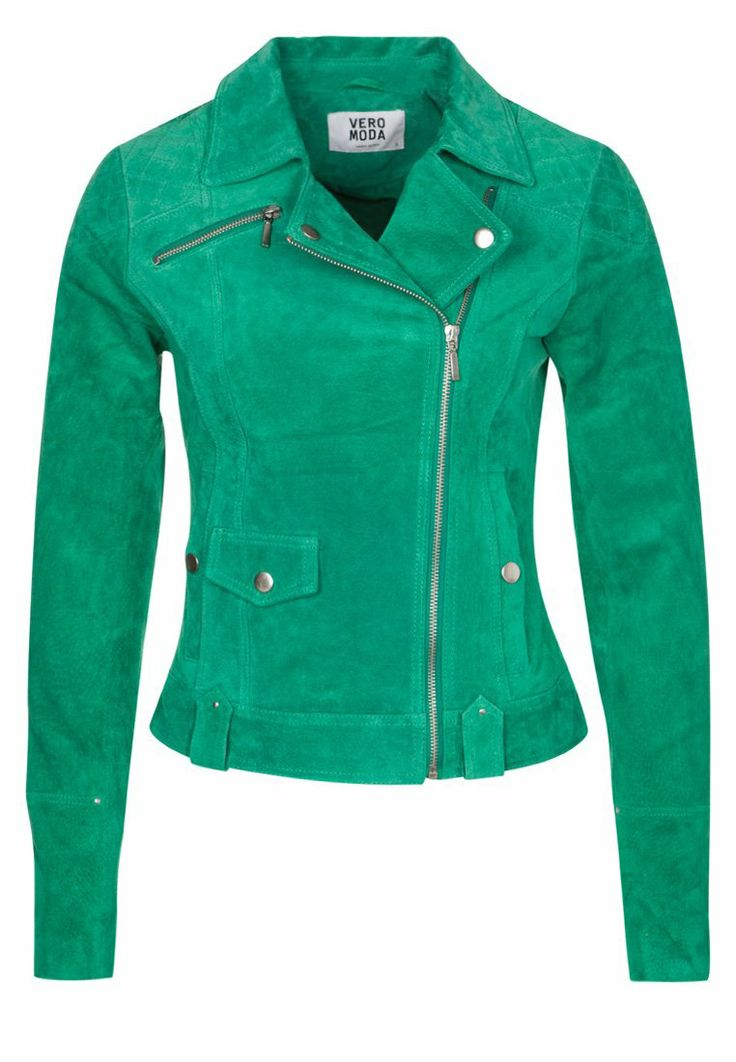 Vero Moda ANEMONE green leather jacket