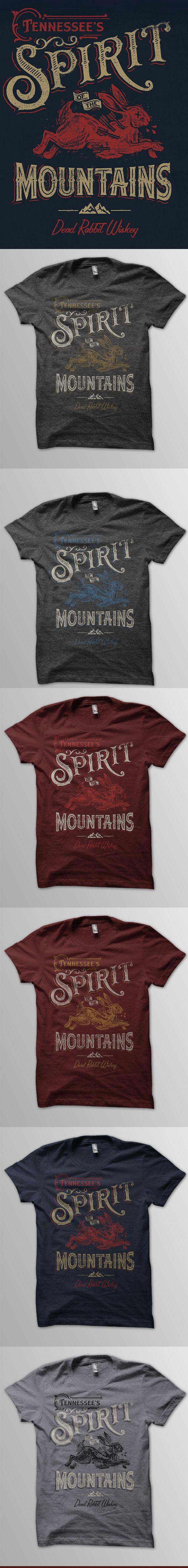 Spirit-mountains-tee-mocks-list. Hare, Rabbit, arrows, Mountains, Shirt, Tee, Type Typography