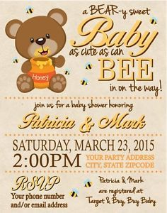 Baby Shower Honey Bear & Bees Bee Party Invitations Personalized Custom