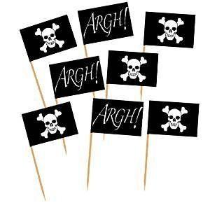 Pose med 50 små pirat flag på cocktail pind til pynt på lagkage, cupcakes, muffins, kager fra Sjovogkreativ.dk til din pirat børnefødselsdag og pirat fest.