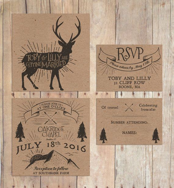 Rustic Mountain Deer Wedding Invitation With Twine And RSVP Card, Kraft  Card Colouring In Retro Design