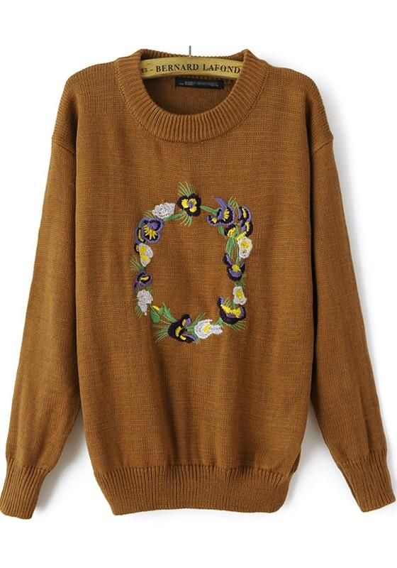 Coffee Flowers Embroidery Long Sleeve Sweater #Pullovers #Sweaters
