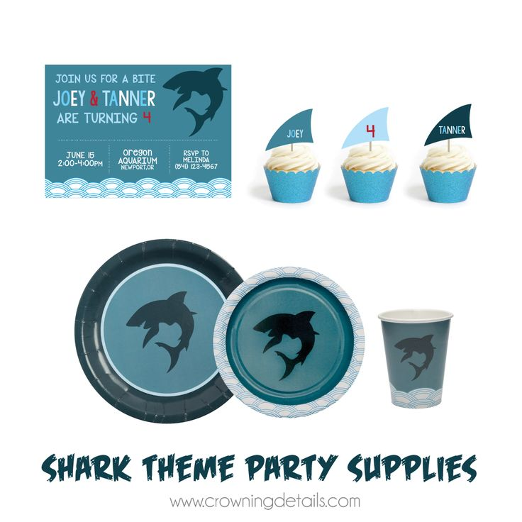Our shark party supplies are FIN-tastic!! Shop this collection in our online store!  Shark paper plates, shark paper cups
