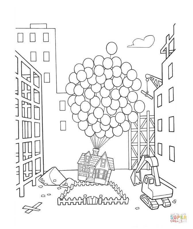 Up con cientos de globos | Super Coloring | Páginas para ...