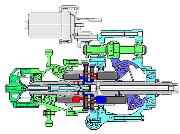 Skizze der Antriebseinheit zur hydrostatischen Kraftübertragung der Honda DN-01