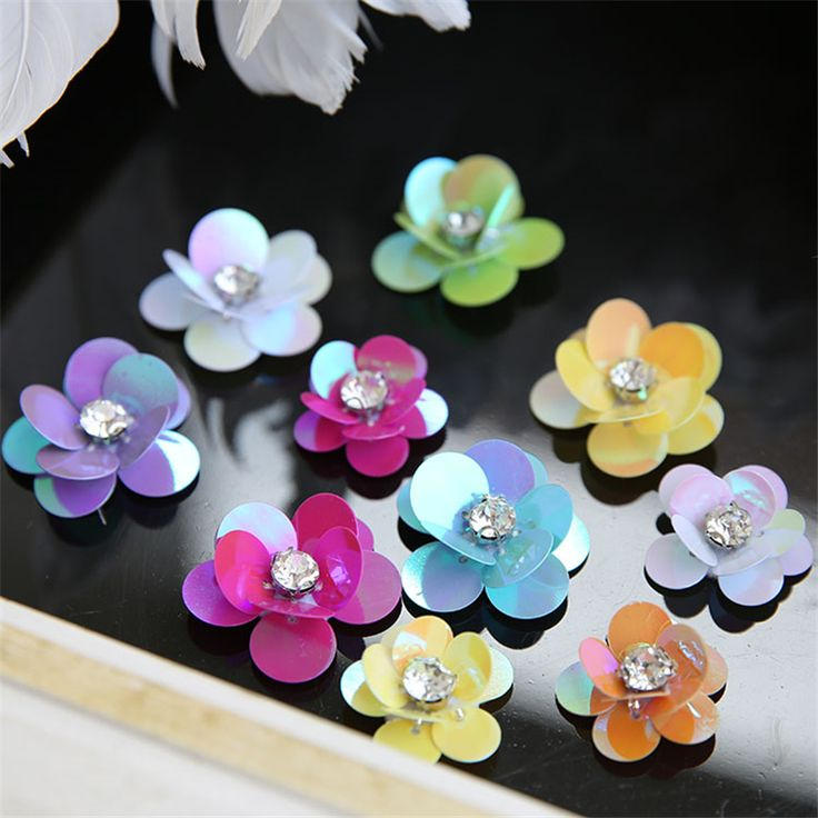 New Year Small Applique Patch 3D Beading Flower Sequin Crystal Embroidered Lace Fabric Sew On Wedding Dress Cloth Accessory