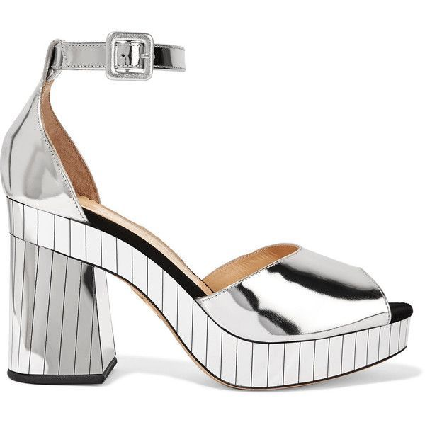 Charlotte Olympia Elie mirrored-leather platform sandals (€305) ❤ liked on Polyvore featuring shoes, sandals, silver, strappy sandals, strap sandals, wide fit sandals, high heel shoes and strap high heel sandals