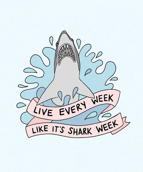 "This is a print from an original drawing of Tracy Jordan from 30 Rock's quote ""Live every week like it's shark week"" The artwork is printed on acid free white photo paper, sealed in an archival bag & backed with a sturdy board so t"