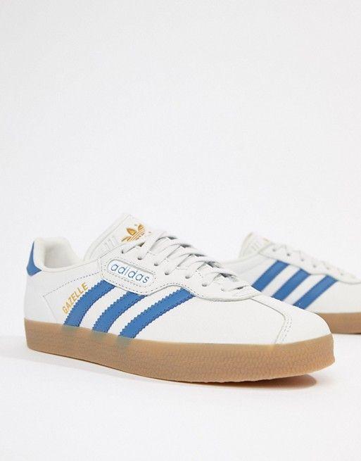 wholesale dealer 42c3b e3c09 adidas Originals   adidas Originals Gazelle Super Sneakers In White And Blue