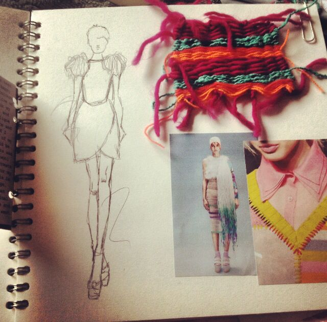 Sketchbook layout. Yarn weaving sample and illustrations. By Sarah Davies.