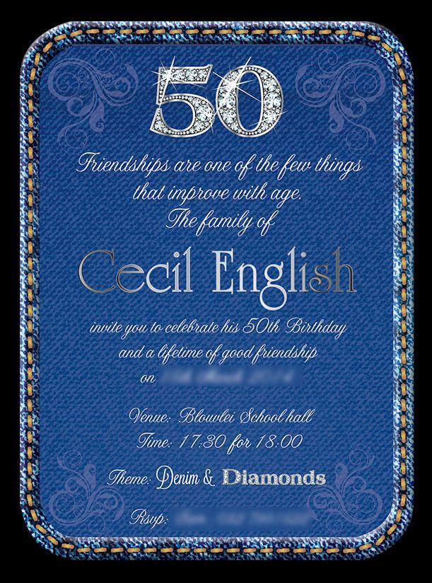 50th birthday invitation for a denim and diamonds themed