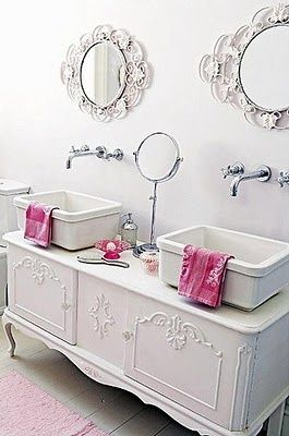 Re-purposed Buffet.  This looks stunning!!! I would have never thought to do this.: Bathroom Design, Little Girls, Shabby Chic, Bathroom Vanities, Bathroom Ideas, Vintage Furniture, White Bathroom, Chic Bathroom, Girls Bathroom