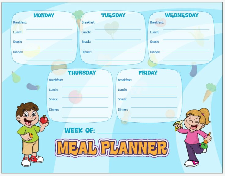 Make your own meal plans with our meal planning chart!
