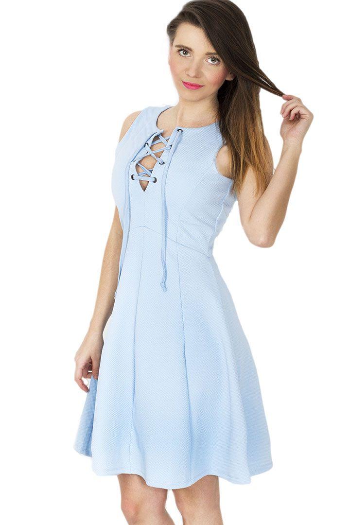 Sukienka z wiązaniem - niebieska
