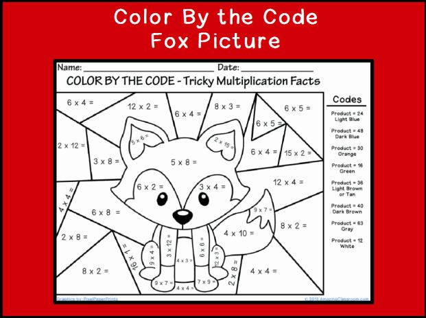 Printables Multiplication Coloring Worksheets 4th Grade 1000 ideas about multiplication sheets on pinterest color by the code multiplying fox classroom printable
